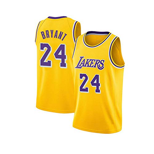 VNBA Kobe Bryant Lakers Basketball Trikot, NO.24 Icon Edition Swingman Trikot, Polyester Atmungsaktives Spieler Basketball Trikot-Yellow-S