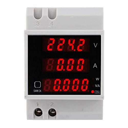 Medidor de potencia, medidor de voltaje de carril digital Din Amperímetro LED, vatímetro multifunción AC80~300V 100A, contador de medidor eléctrico multifunción