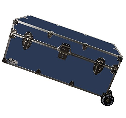 C&N Footlockers Happy Camper Trunk with Wheels - Camping Storage Chest - Durable with Lid Stay - 32 x 18 x 13.5 Inches (Navy)