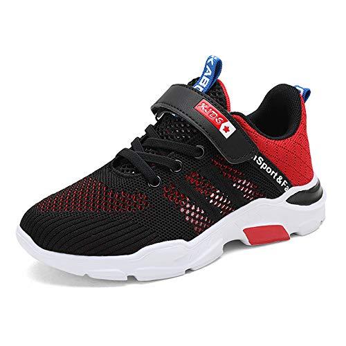TUDOU Kinder Schuhe Sportschuhe Atmungsaktiv Jungen Sportschuhe Klettverschluss Sneaker Freizeit Turnschuhe für Unisex-Kinder 28-39 (Rot, Numeric_34)
