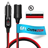 [UL Wire]Chanzon Pure Copper 6Ft Cigarette Lighter Extension Cord 12V 16AWG Heavy Duty Cable Fused Auto DC Power Plug 12 24 Volt for Car Tire Inflator Cleaner Male Female Socket Adapter