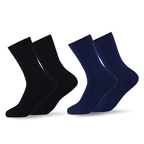 YOUCHAN Calcetines Hombres Mujeres 10 Pares Ejecutivos Negros de Algodón Transpirables Uso Diario-Negro Azul-3942