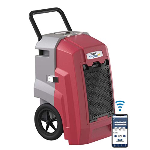AlorAir 180 PPD Smart Wi-Fi Commercial Dehumidifier, Storm Pro Large Industrial Dehumidifier with Pump, Compact, Portable, Auto Shut Off, for Basements, Garages, and Job Sites, 5 Years Warranty, Red
