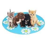 ペットアイスパッド 夏の犬の小さな花ペットシリコーン食品ペットマットアンチスプラッシュ滑り止めペットマット 多目的 猫や子犬に最適 (ブルー)