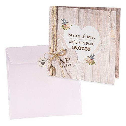 Weddix Holz-Optik Einladungskarte Kerstin zur Hochzeit, 3 Stück Blanko Hochzeitseinladungen mit passendem Umschlag u Siegeletikett