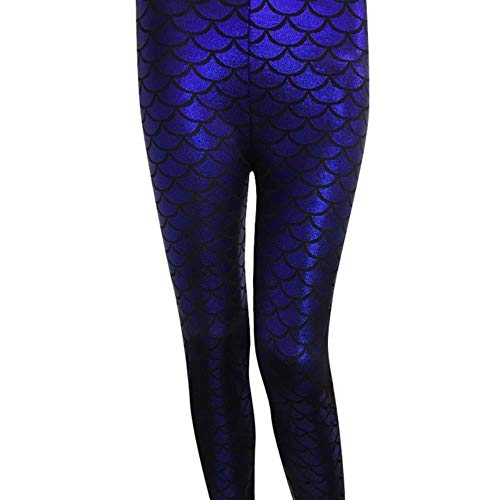 SELLM Pants Women's Holographic Mermaid Fish Scale Metallic Geometric Stretch Legging Pant Ladies Clothing,Navy Blue,M