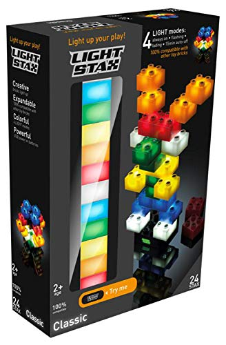 Light STAX Junior Starter M05000, kompatibel mit dem STAX System und allen bekannten Bausteinmarken, 24 STAX Bausteine in verschiedenen Farben, USB Power Base und Kabel