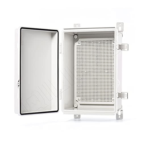 QILIPSU Hinged Cover Stainless Steel Latch 285x195x130mm Junction Box with Mounting Plate, Universal IP67 Project Box Waterproof DIY Electrical Enclosure, ABS Plastic Grey (11.2