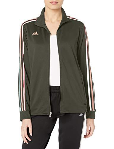 adidas Damen Tiro Schweißableitende Fußball-Trainingsjacke, Damen, Sweatjacke, AFS Tiro Tr Jkw, dunkelgrün, XX-Small