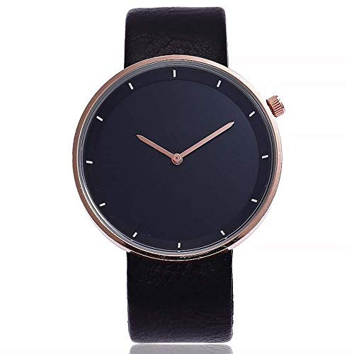 Uhren Damenuhren Watches Armbanduhren WatchMode Unisex Frauen Einfaches Design Armbanduhren Lederband Quarz Uhren-Black_Black