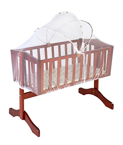 LuvLap Baby Wooden Cot C-10 with Swing & Mosquito Net (Cherry Red) Without Mattress