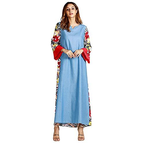 Yvelands ¡Ofertas de liquidación Moda étnica para Mujer Estilo étnico Estampado de Manga Larga Fiesta Vestido Largo Maxi Traje Outwear(Azul Claro,M)