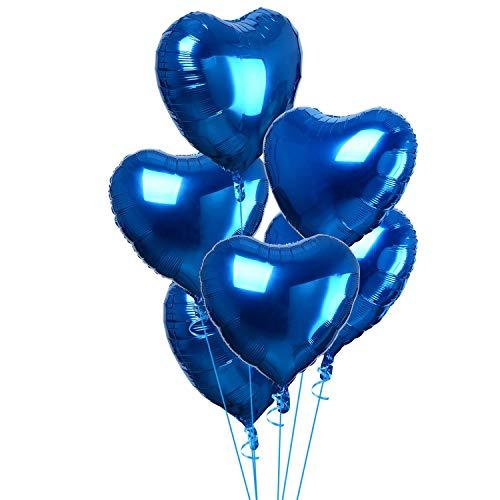 FVCENT 20 Piezas corazón Globo de Aluminio para cumpleaños Nupcial Ducha día de San Valentín (Blue)