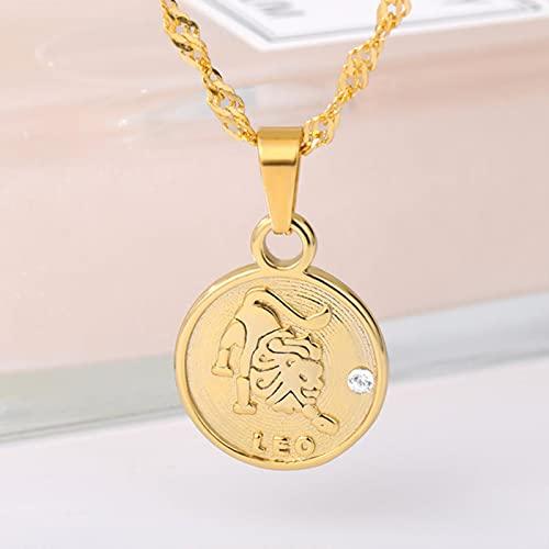 CXWK Personalidad 12 Constelaciones Moneda Colgante Collar Cadena Femenina Retro Redondo Leo Logo Signos del Zodiaco