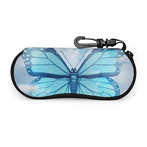 735 Funda De Gafas Imprimir Mariposa Azul Y Nubes Caja De Gafas Fácil De Cargar Bolsa De Llaves Con Cremallera Gafa De Sol Bolsa Para Lápices, Joyas, Tarjetas, Cosmético