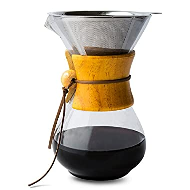 Pour Over Coffee Maker with Borosilicate Glass Carafe and Reusable Stainless Steel Permanent Filter by Comfify - Manual Coffee Dripper Brewer with Real Wood Sleeve - 30 oz. - Free Ebook