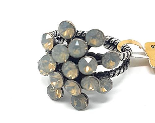 KONPLOTT Damen-Ring Magic Fireball, Glas weiss-grau Ringgröße verstellbar -5450527767415