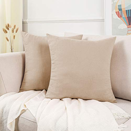 Topfinel Funda Cojin Lino Algodon 100% Natural Decoracion Suave Jardin Sofa Silla Sala de Estar Dormitorio Color Simple Niño 2 Piezas 35x35cm Beige