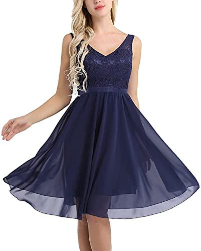 Vestido de Dama de Honor con Cuello en V de Verano Elegante para Mujer, Vestido Corto con Cintura Imperio, Vestido de Fiesta de Noche con corpiño de Encaje, Vestido de cóctel con Swing-Navy_Blue_6XL