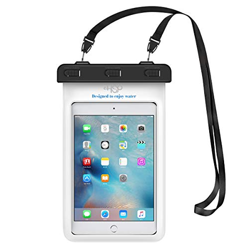 "HeySplash Universal Waterproof Tablet Case, Underwater Tablet Dry Bag with Lanyard Compatible with iPad Mini 2019/4/3/2, Samsung Tab 5/4/3, Galaxy Note 8, Tab S2/Tab A 8.0/Tab E, Up to 8.3"" - White"
