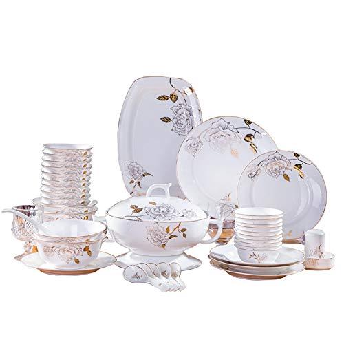 DGYAXIN Juego de vajilla 60 Piezas de Porcelana con patrón de Flores Doradas con Palillos de Plato de Pescado y una Olla de Sopa para 10 Personas.