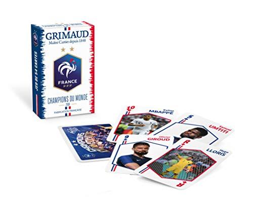 Grimaud- Jeu FFF Champions du Monde-54 Cartes, 2 étoiles, Bleu Blanc Rouge