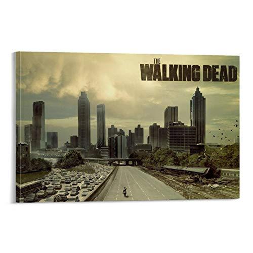 Póster de la película The Walking Dead 8, enmarcado al óleo, impreso en lienzo para decoración del hogar, cuadros colgantes para sala de estar, dormitorio, listo para colgar, 30 x 45 cm