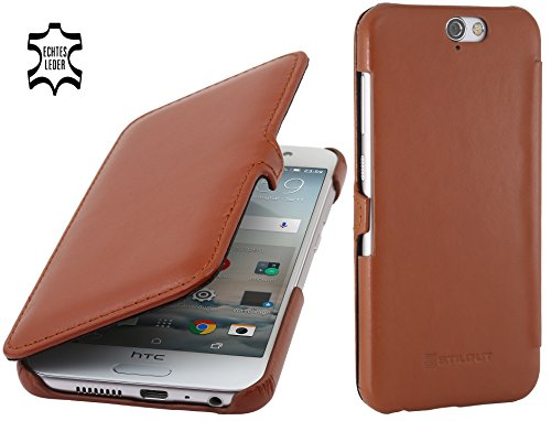 StilGut Book Type Hülle, Hülle Leder-Tasche kompatibel mit HTC One A9, Cognac mit Clip