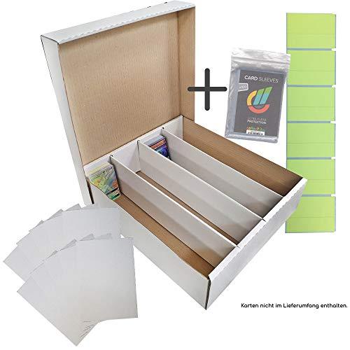 collect-it Riesen Deck-Box - Aufbewahrung (weiß) für 4000 Karten + 10 Kartentrenner (Magic / Pokemon / YuGiOh Karten)