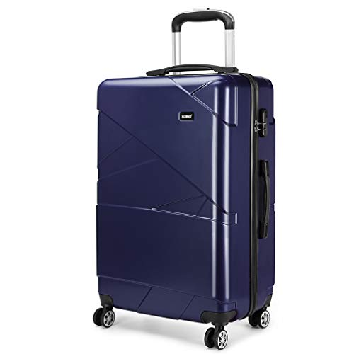 Kono Carry-on Luggage Lightweight PC Suitcase with 4 Spinner Wheel 39L (20',Navy)