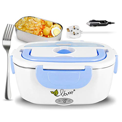 Car Electric Heating Lunch Box 12V / 220v 2 in1 Home Electric Thermal Lunch Box Food Heater Warmer for Heat Preservation,Office, School, Traveling (Blue)