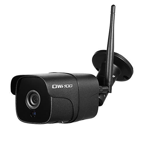 OWSOO HD 1080P Cámara de Seguridad Inalámbrica WiFi, Cámara IP Soporte P2P ONVIF, IP66 Impermeable, IR Visión Nocturna, Detección de Movimiento, Máximo 128G Tarjeta de TF (no Incluido), Negro