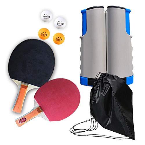 Raquetas de Tenis de MesaPortátil, Universal Equipo De Gimnasio En Casa Deportes, 2 Raquetas + 4 Bolas, Ejercer Ojos Y Capacidad De Respuesta