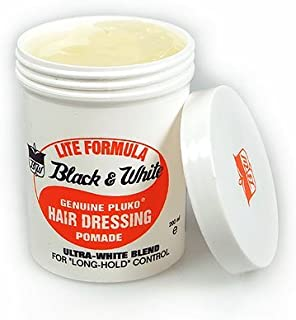 Black & White Genuine Pluko Lite Formula Ultra-White Blend Hairdressing Pomade 200ml by Black And White Hair Styling