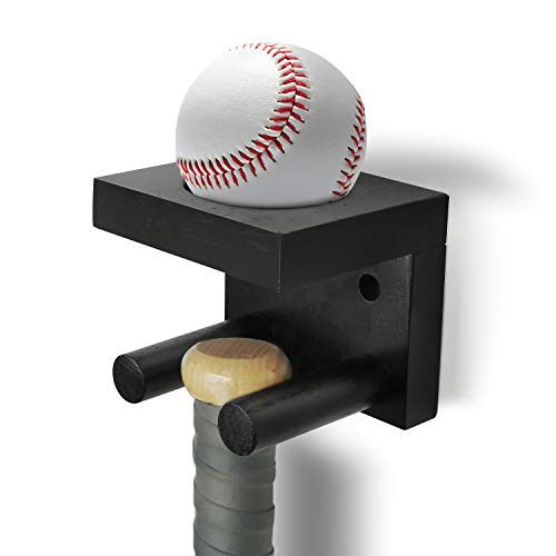 AXUAN Baseball Bat and Ball Display Baseball Bat Wall Mount Vertical Holder Full Size amp Solid Wood Baseball amp Softball Bat Display Rack Bat Storage Shelf Bat Souvenir Stand