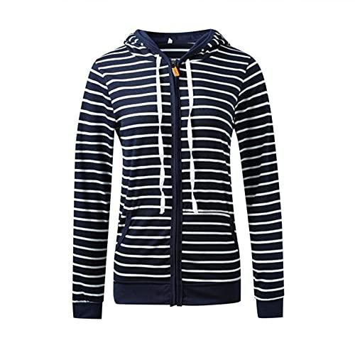 Padaleks Women's Long Sleeve Striped Zip Up Sweatshirt Hoodies Stylish Loose Fit Casual Pullover Tops Outerwear
