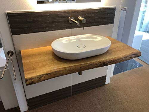 Waschtischplatte Eiche massiv Baumkante geölt Holz Aufsatzwaschtisch (120 x 60 cm)
