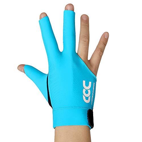 PIKU Billard-Handschuhe aus Lycra, schnelltrocknende Handschuhe für die rechte Hand (blau, groß)