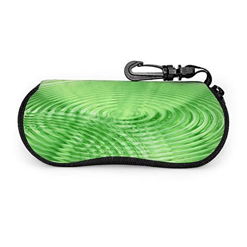Wave Concentric Circle - Juego de protectores de gafas de agua con cremallera de viaje portátil de neopreno suave para gafas con cremallera y gancho para cinturón antirrobo