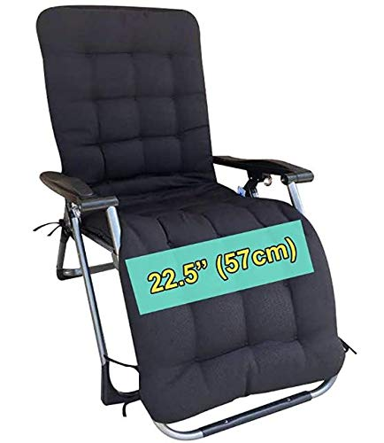 Four Seasons BeiJiaEr {Cushion ONLY} for Extra Wide (Seat Width: 22.5') Zero Gravity Chair Lounge Recliner Rocking Garden Patio Seat Pad Mat Cushion (Hood and tie Down) (Black)