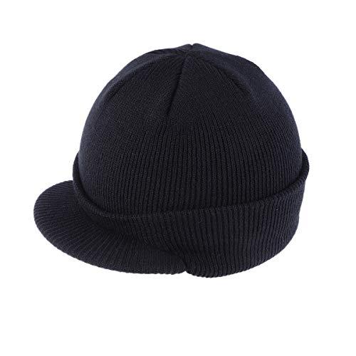 Berretto con visiera isolante, caldo, lavorato a maglia, invernale, elegante, unisex, colore: nero
