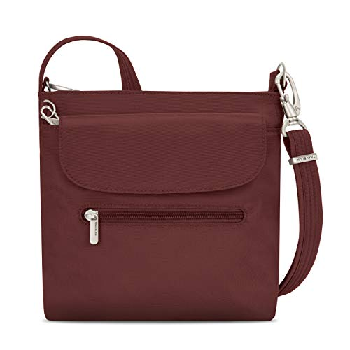 Travelon Women's Anti-Theft Classic Mini Shoulder Bag Sling Tote, Wine, One Size