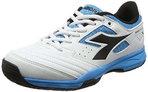 Diadora Herren S.Challenge Ag Tennisschuhe, Elfenbein (Bianco/Nero/blu Fluo), 40.5 EU