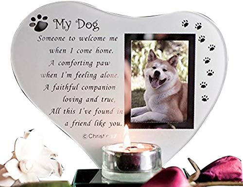 SAFRI Special Dog Glass Memorial Plaque Grave Ornament with Poem candle photo holder for Remembrance