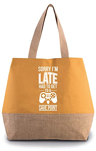 Hippowarehouse Sorry I'm late had to get to a save point Premium reusable eco friendly 100% cotton tote shopper bag for life 43cm x 33cm x 17cm