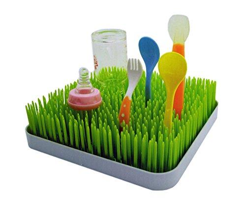 Escurreplatos de 24 x 24 cm para secar de forma higiénica platos y chupetes de césped verde