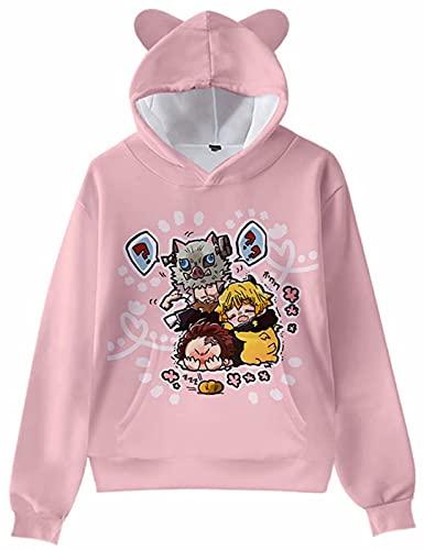 Sudadera con capucha con estampado en 3D Demon Slayer Kimetsu no Yaiba con orejas de gato, anime Shinobu Gdiyuu Kamado Cosplay DS para niñas y niños