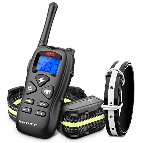Shock Collars for Dogs with Remote,Rechargeable Dog Training Collar w/3 Training Modes-Beep, Vibration and Shock, Waterproof Shock Collar, Up to 1600Ft Remote Range for Small Medium Large Dogs(Black)