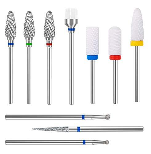 HoyMie Nail Drill Bits Set 10Pcs Ceramic Bits Set 3/32 Inch Cuticle Polishing Bit Nails Manicure Pedicure Drill Tool Kit for Women
