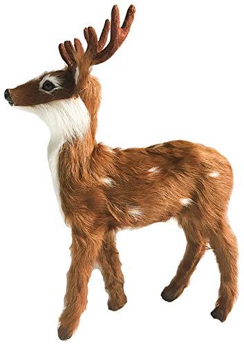Hirsch Figur aus Fell, Weihnachtsdeko 24cm
